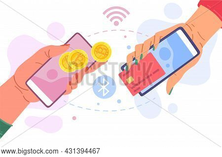 Buying Or Selling Bitcoins. Hands With Smartphones Exchange Cryptocurrency For Money. Financial Tran