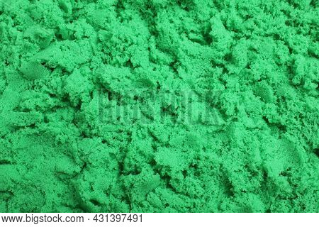 Green Kinetic Sand As Background, Closeup View