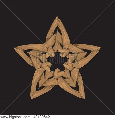 Creative Woven Unique Star. Flat And Solid Color Vector Illustration