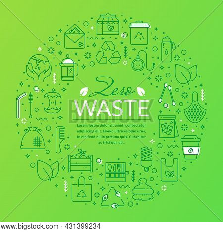 Zero Waste Banner With Line Icons And Place For Text. Template For Recycling, Reusable Items, Save T