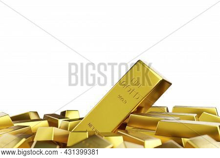Gold Bar Stack Isolated On White Background, Wealth Concept, Treasure, And Trading, Investment, 3d R