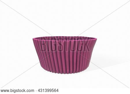Pink Colorful Cupcake Silicone Cups On A White Background. 3d Rendering
