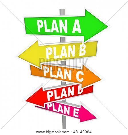 The words Plan A, B, C, D and E on colorful street or road signs pointing you to alertnate strategy options for success in business or life poster