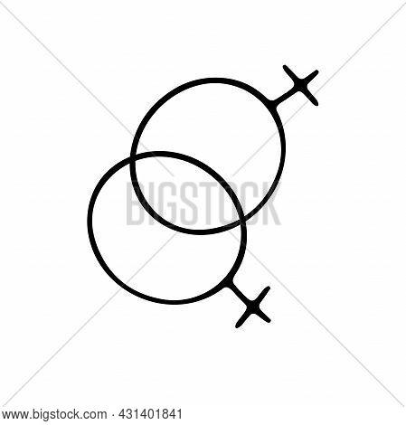 Doodle Gender Symbol. Two Crossed Symbols Of Venus. Outline Female Sign Isolated On White Background