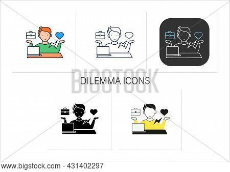 Workaholic Icons Set. Conflict Between Private Life And Work. Dilemma. Man At Laptop.overworking Con