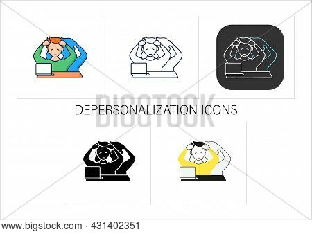 Depersonalization Icons Set. Disconnected, Detached From Oneself. Hard To Collect Thoughts. Man At L