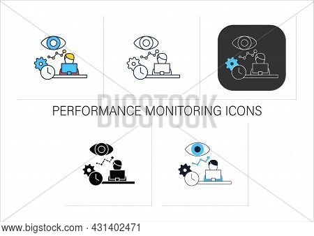 Performance Monitoring Icons Set.employees Productivity Reviews.observation Statistics Through Lapto