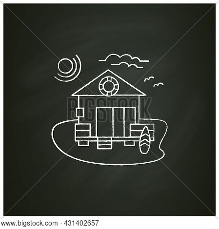 Beach Hut Chalk Icon. Wooden Comfortable House On Beach. Lifebuoy, Surfboards. Seascape. Rest Concep