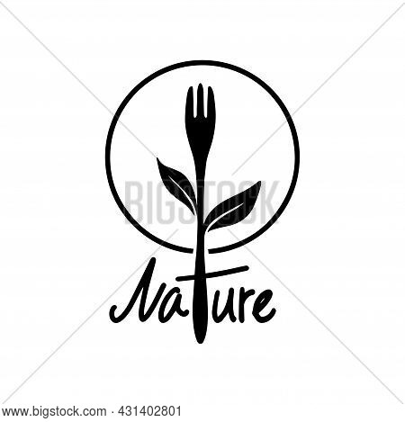 Healthy Food Logo Fork And Plant Silhouette. Natural Food Symbol Vector Design, Healthy Food Logo De