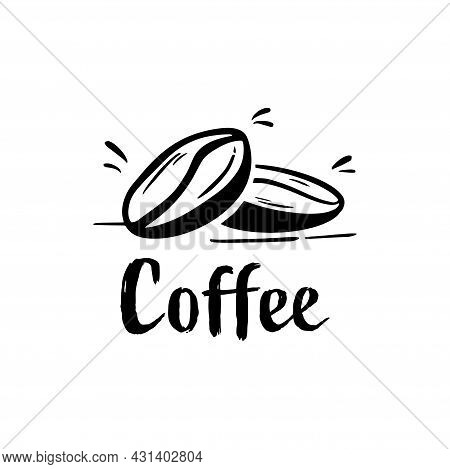 Silhouette Coffee Bean Logo For Coffee Drink, Coffee Bean. Coffee Logo . Coffee Vector. Coffee Logo