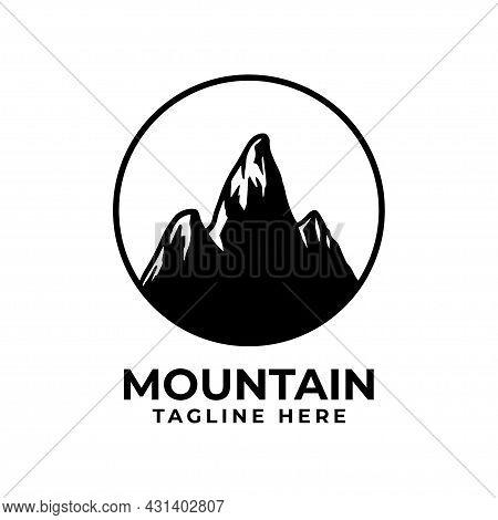 Silhouette Mountain Logo With Circle. Mountain Vector Design For Adventure Symbol, Mountain. Mountai