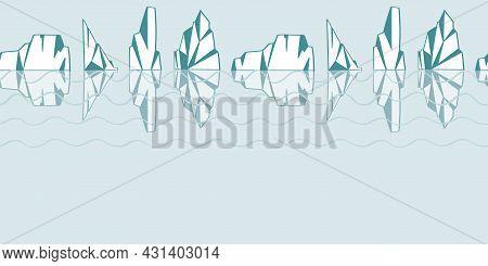 Iceberg Sea Horizontal Border Repeat Print Fabric Winter Background