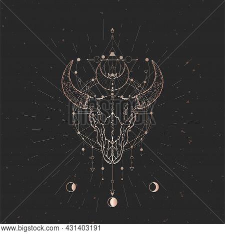 Vector Illustration With Hand Drawn Bull Skull And Sacred Geometric Symbol On Black Vintage Backgrou