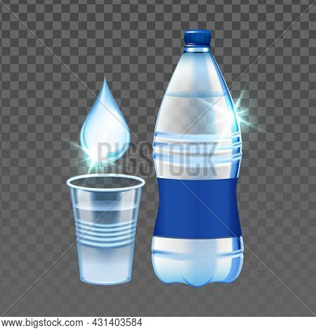 Mineral Water Drop, Cup And Blank Bottle Vector. Mineral Water Dropping In Plastic Mug And Package.