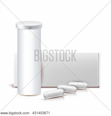 Drug Capsules Blank Container And Package Vector. Pills Capsules Pharmaceutical Medicament Packaging