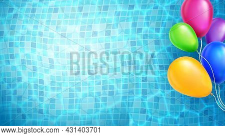 Helium Balloons Floating In Swimming Pool Vector. Celebration Inflatable Multicolored Accessory Floa