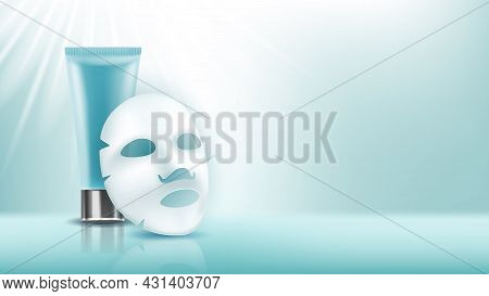 Facial Mask And Cream Blank Tube Copy Space Vector. Natural Face Skin Care Facial Mask And Cosmetolo