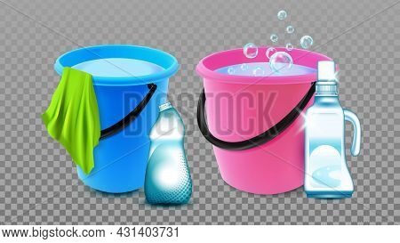 Bucket With Detergent Blank Bottle And Rag Vector. Bucket With Chemical Liquid And Microfiber Napkin