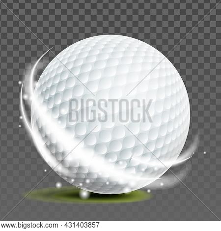 Golf Ball Golfer Sportive Game Accessory Vector. Ball For Playing Entertainment On Grass Field. Hobb