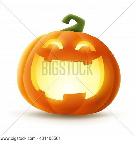 Jack O Lantern. Halloween Pumpkin With Glowing Funny Face Expression. Isolated.