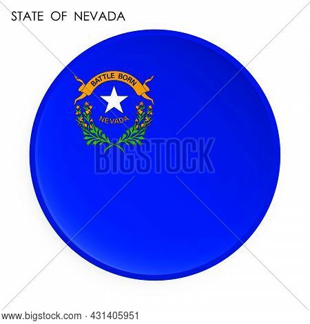 Nevada Flag Icon In Modern Neomorphism Style. Button For Mobile Application Or Web. Vector On White