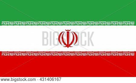 National Flag Islamic Republic Of Iran (persia) - Vector, Three-coloured Flag