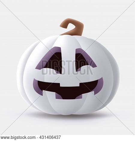Jack O Lantern. 3d Illustration Of Halloween White Pumpkin With Funny Face Expression. Isolated.