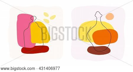 Liquor And Rum Bottle On Abstract Background. Hand Drawn Doodle Various Shapes, Spots. Contemporary