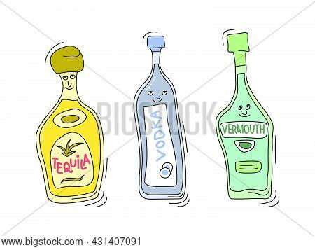 Tequila, Vermouth And Vodka With Smile On White Background. Cartoon Sketch Graphic Design. Doodle St