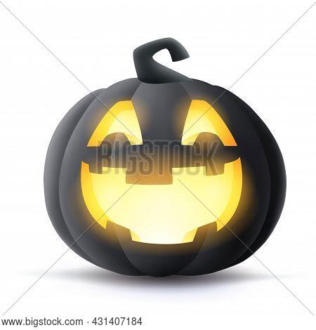 Jack O Lantern. 3d Illustration Of Halloween Black Dark Pumpkin With Glowing Funny Face Expression.