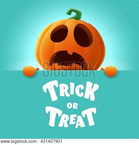 Trick Or Treat. 3d Illustration Of Cute Jack O Lantern Orange Pumpkin Character With Big Greeting Si