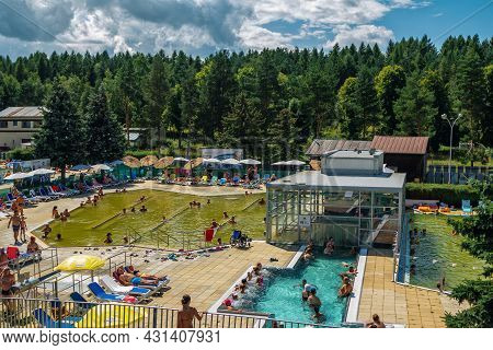 Vrbov, Slovakia - August 10, 2021: View Of Thermal Park Vrbov - People Relaxing In Thermal And Jacuz