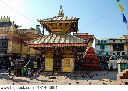 Kathmandu, Nepal - December 28, 2011:  Medieval Buildings And Structures Surrounding Swayambhunath S
