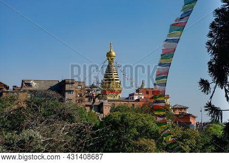 View To Swayambhunath Stupa In The Temple Complex. Kathmandu, Nepal