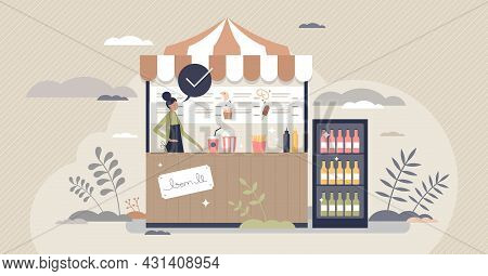 Concession Stand With Fast Food, Snacks And Drinks Store Tiny Person Concept. Retail Tent With Bever