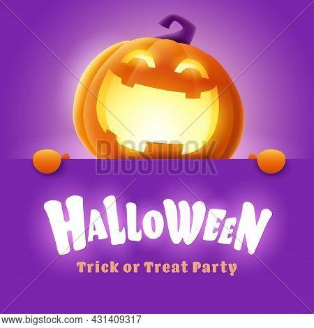 Happy Halloween. 3d Illustration Of Cute Glowing Jack O Lantern Orange Pumpkin Character With Big Gr