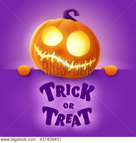 Trick Or Treat. 3d Illustration Of Cute Glowing Jack O Lantern Orange Pumpkin Character With Big Gre