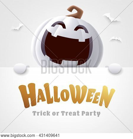 Happy Halloween. 3d Illustration Of Cute Jack O Lantern White Pumpkin Character With Big Greeting Si