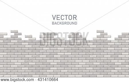 Broken Gray Brick Wall On A White Background With Copy Space For Any Text, Horizontal View. Vector I