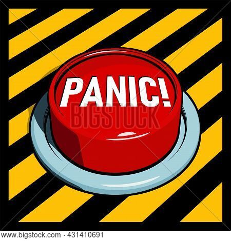 Alarm Button Or Sos Emergency Button. Big Red Panic Button On Yellow And Black Panel. Vector Illustr