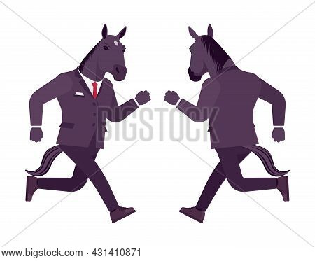 Horse Man, Large Hoofed Male Animal, Formal Human Wear, Running. Business Person In Dark Strict Suit