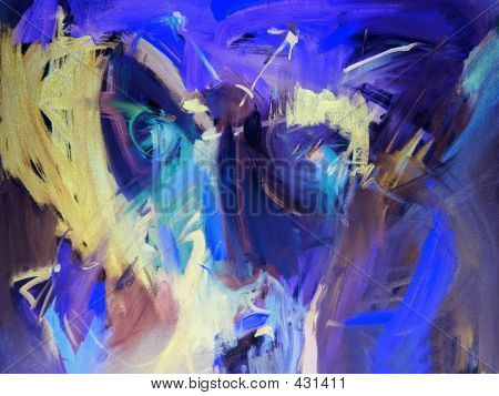 Blauwe abstracte schilderijen