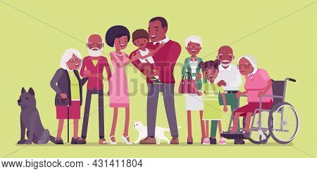 Multigenerational Black Family, Common Household, People Living Together In Support. Four Generation