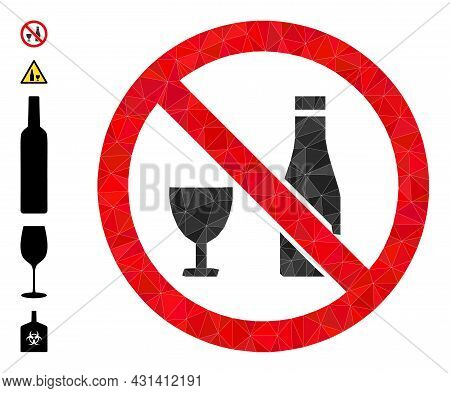 Triangle Forbid Alcohol Polygonal 2d Illustration, And Similar Icons. Forbid Alcohol Is Filled With