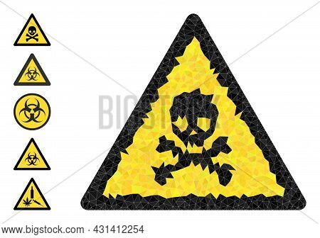 Triangle Death Warning Polygonal Icon Illustration, And Similar Icons. Death Warning Is Filled With