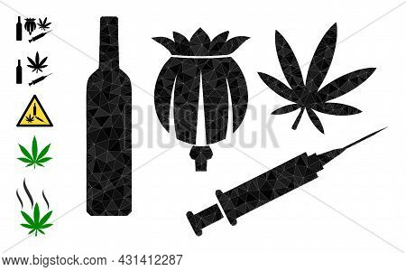 Triangle Addiction Drugs Polygonal Icon Illustration, And Similar Icons. Addiction Drugs Is Filled W