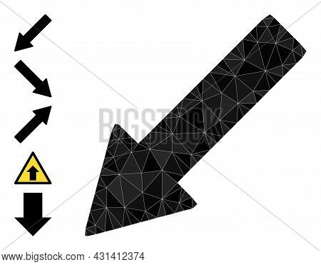 Triangle Left Down Arrow Polygonal Symbol Illustration, And Similar Icons. Left Down Arrow Is Filled