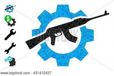 Triangle Weapon Industry Polygonal Symbol Illustration, And Similar Icons. Weapon Industry Is Filled