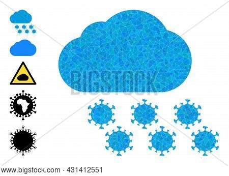 Triangle Virus Cloud Polygonal Icon Illustration, And Similar Icons. Virus Cloud Is Filled With Tria