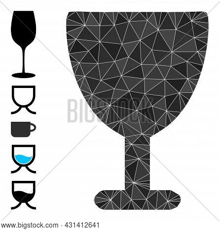 Triangle Wine Glass Polygonal 2d Illustration, And Similar Icons. Wine Glass Is Filled With Triangle